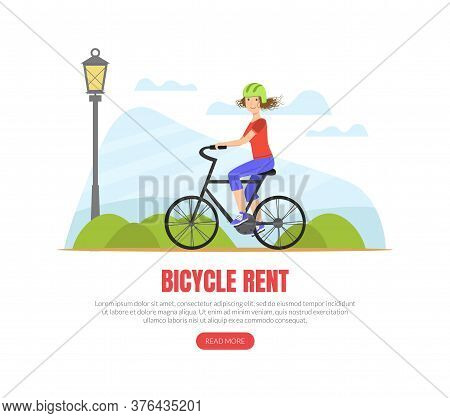 Bicycle Rent Landing Page Template, Girl Riding A Bicycle, Physical Activity Outdoors Vector Illustr