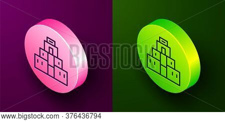 Isometric Line Chichen Itza In Mayan Icon Isolated On Purple And Green Background. Ancient Mayan Pyr