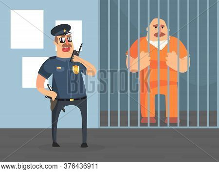 Prison Cell With Prisoner In Orange Uniform And Police Officer, Police Department Interior Vector Il