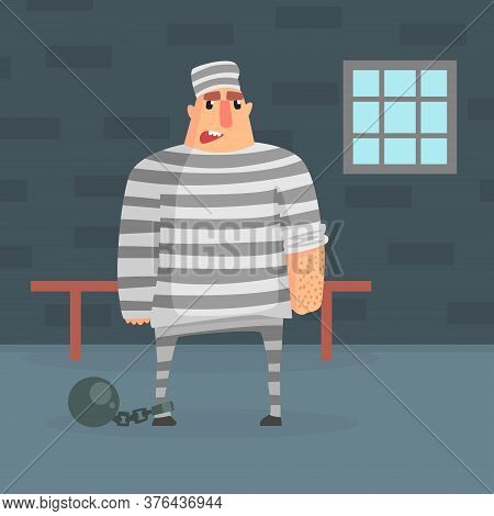 Male Prisoner Character In Striped Robe In Prison Cell Vector Illustration