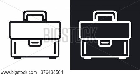 Briefcase Or Portfolio Icon. Simple Two-tone Vector Illustration On Black And White Background
