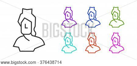 Black Line Ancient Bust Sculpture Icon Isolated On White Background. Set Icons Colorful. Vector