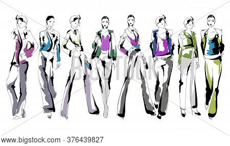 Beautiful Young Women In Modern Style.. Hand Drawn Stylish Woman Portrait. Fashion Lady. Festive Out