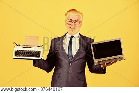 Distant Education. Modern Digital Business. Vintage Typewriter. Successful Businessman Retro Typewri