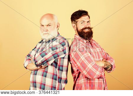 Hipsters. Father And Son Family. Generational Conflict. Two Bearded Men Senior And Mature. Barbersho