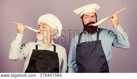 Chef Men Cooking. Teaching Culinary. Culinary Book. Delicious Recipe. Kitchen Team Prepare Food. Fam