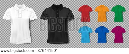Colorful Realistic Slim Male Polo Shirt Design Template. Set Of Short Sleeve Shirts For Sport, Men C