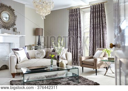 Shot Of A Luxurious Living Room With Elegant Furniture In A Modern Home