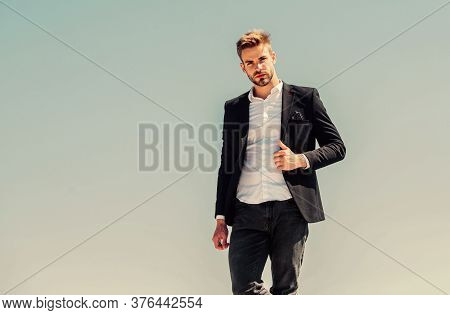 Success Concept. Formal Male Fashion. Modern Lifestyle. Confident Businessman. Handsome Man Fashion