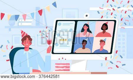 Online Internet Party, Birthday, Meeting Friends. Birthday Celebration In Quarantine Mode. Friends H