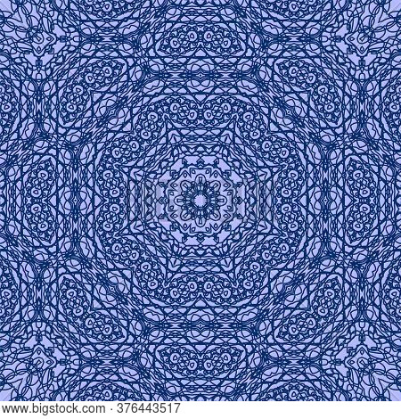 Blue Delicate Openwork Geometric Floral Seamless Pattern Vector Fashionable Graphic Design For Texti