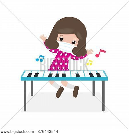 New Normal Lifestyle Concept Cute Girl Playing Electronic Keyboard And Wearing A Surgical Protective