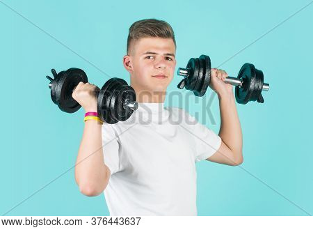 Real Professional. Healthy Lifestyle. Dieting For Athletics. Strong Man Workout In Gym. Teen Boy Tra