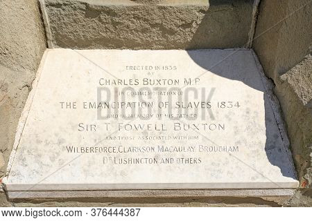 Emancipation Of Slaves Plaque, London, 2020.  A Memorial Plaque Commemmoeating The Abolition Of The