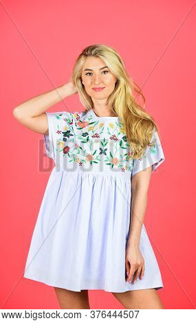 Embroidered Dress. Handicraft And Embroidery. Floral Pattern On Dress. Pretty Woman Feeling Comfy. C