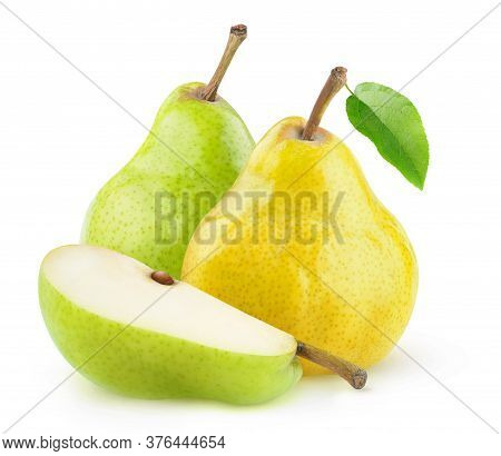 Isolated Pears. Whole Yellow And Green Pears And A Wedge Isolated Over White Background