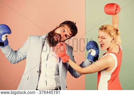 Gender Battle. Gender Equal Rights. Gender Equality. Man And Woman Boxing Fight. Couple In Love Comp