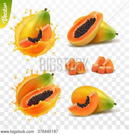 3d Realistic Transparent Isolated Vector Set, Whole And Slice Of Papaya Fruit, Papaya In A Splash Of