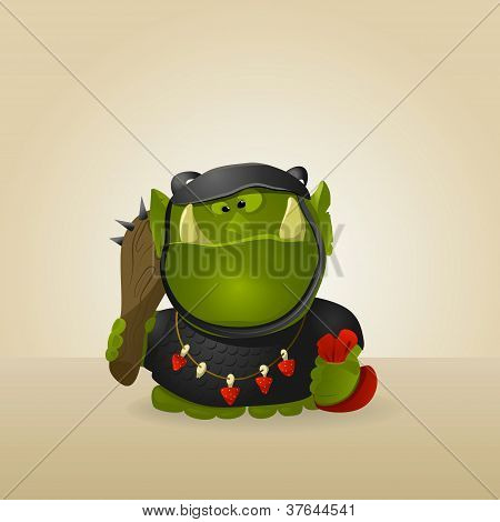 Funny orc warrior. Very hungry. A vector. poster
