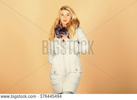 It Is So Cold. Woman In Padded Warm Coat. Happy Winter Holidays. Flu And Cold. Seasonal Fashion. Gir