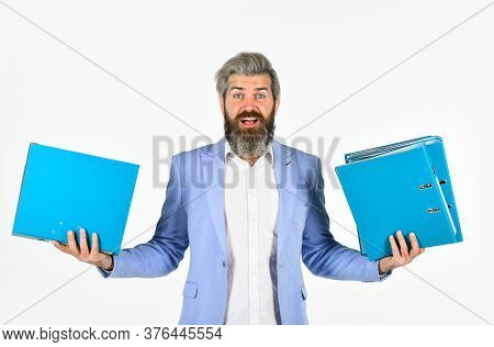 What To Choose. Handsome Man Work With Business Documents. Portrait Of Businessman Hold Office Folde