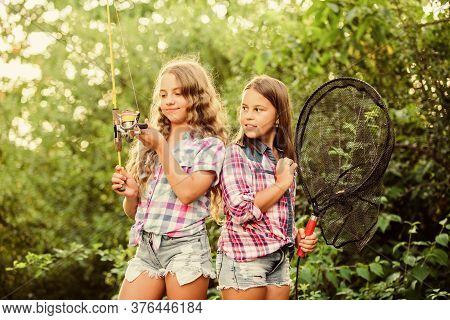Spending Good Time. Summer Holidays Weekend. Fly Fishing. Little Kids Spend Time In Camp. Having Fun