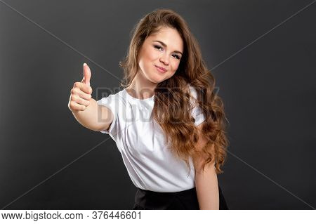 Like Gesture. Perfect Choice. Happy Woman With Thumb Up Isolated On Gray Background.