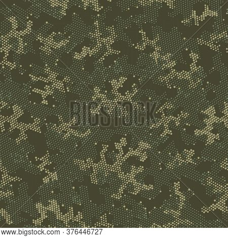 Khaki Seamless Digital Camouflage, Graphic Art.  Repeated Vector Green Modern, Camo Wrapping. Beige