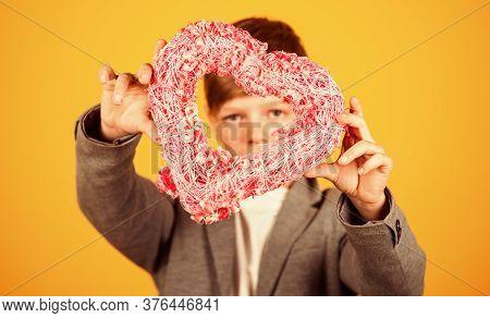 Little Boy Hold Pink Heart Decor. Valentines Day. Holiday Celebration. Love My Valentine. Valentine