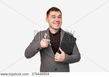 Business Idea. Professional Success. Cheerful Man In Suit Showing Thumb Up Isolated On White Backgro