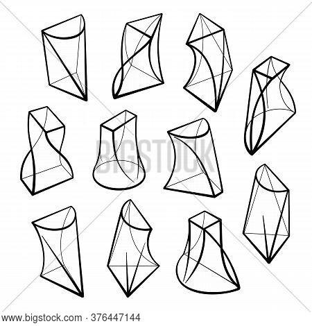 Set Of 3d Geometric Shapes Prism Designs
