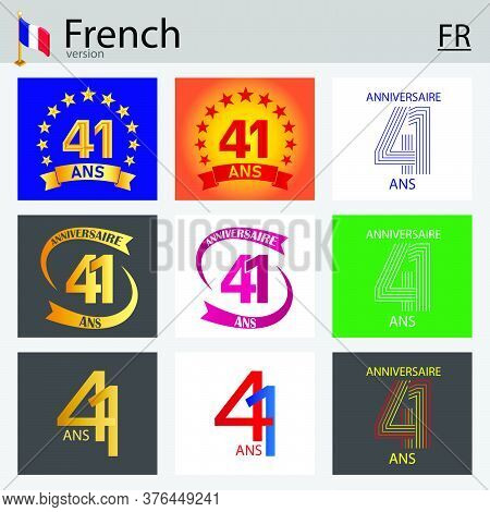 French Set Of Number Forty-one Years (41 Years) Celebration Design. Anniversary Vector Number Templa