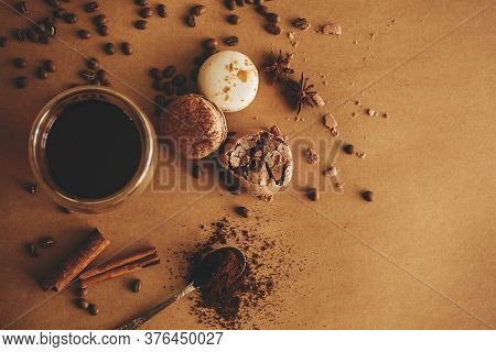 Coffee Moody Flat Lay. Glass Cup With Fresh Coffee And Roasted Beans,ground Coffee On Spoon, Macaron