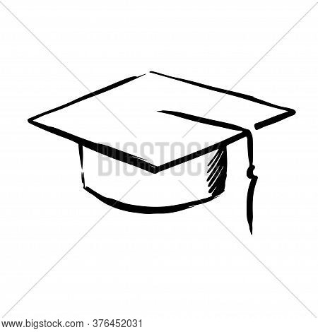 Square Academic Cap Black Line Sketch Isolated On White Background. Graduation Ceremony Object Illus