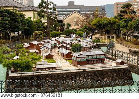Nagasaki, Japan, 03/11/19. Scale Model Of A Dutch Trading Post On Display In Dejima, Former Artifici