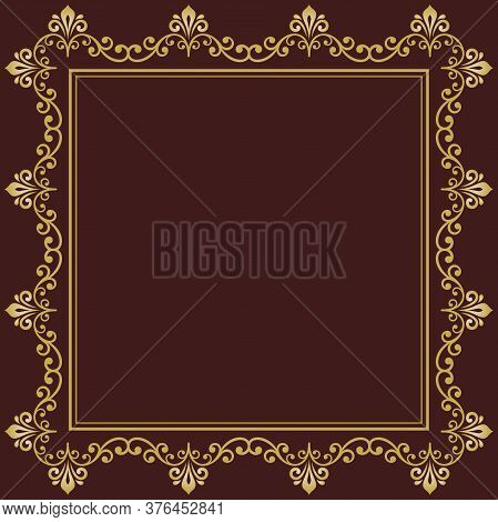 Classic Vector Square Frame With Arabesques And Orient Golden Elements. Abstract Ornament With Place