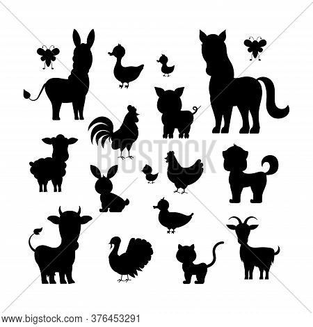 Farm Animals Black Silhouette Set Isolated On White Background. Character Contour - Cat Turkey, Shee