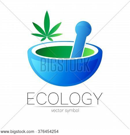 Mortar And Pestle Vector Symbol With Cannabis. Logo Of Nature Herb Marijuana Illustration. Concept F