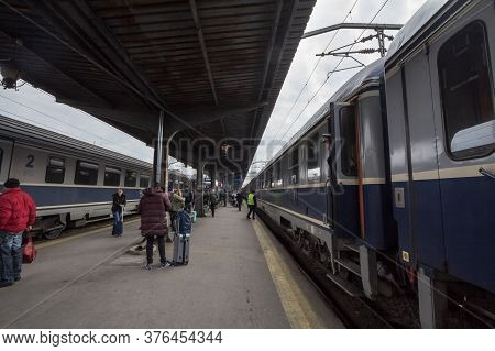 Bucharest, Romania - February 15, 2020: Passengers Unboarding An Intercity Train From Cfr Calatori,