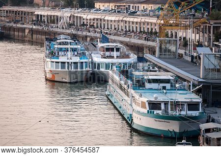 Belgrade, Serbia - August 21, 2018: Cruise Ships Gathered In Mass In Front Of The Quay Of Belgrade P