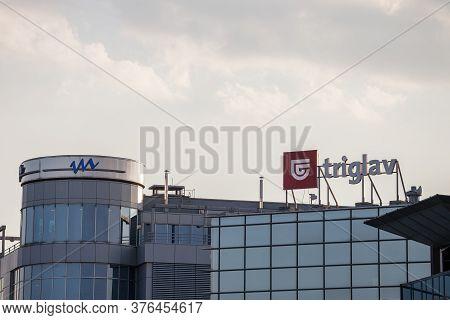Belgrade, Serbia - September 19, 2018:  Logo Of Triglav Insurance On Their Belgrade Headquarters. Tr