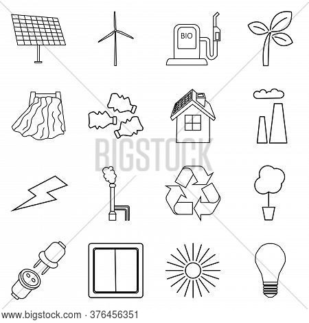 Vector Set Of Simple Eco Related Outline Icons Isolated On White Background. Contains Icons Of Elect