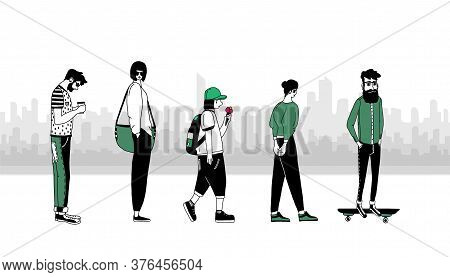 A Group Of People In The City.people On The Background Of A Panorama Of City Buildings.concept Of Ur
