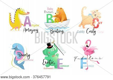 English Language Alphabet Letters With Animals For Teaching And Studying Collection. Elephant, Allig