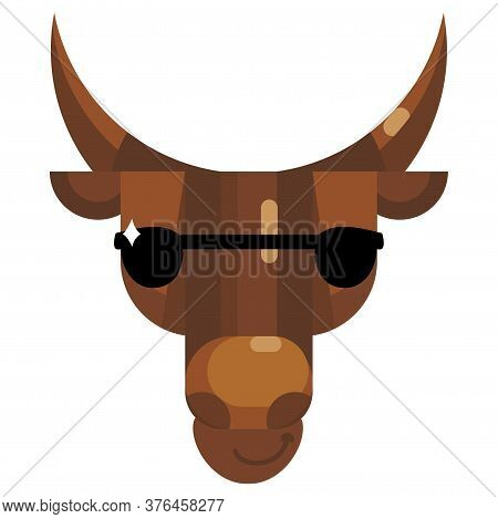 Cool Bull Face In Sunglasses Emoji, Cow Wear Sun Glasses Icon Isolated