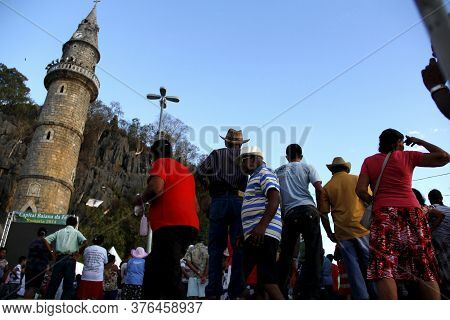 Bom Jesus Da Lapa, Bahia / Brazil - August 4, 2014: Pilgrims Are Seen During A Pilgrimage Through Th