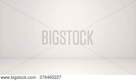 White Room Space Background. Front View Of White Interior, Empty Room With Soft Light Illumination.