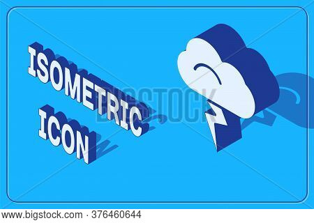 Isometric Storm Icon Isolated On Blue Background. Cloud And Lightning Sign. Weather Icon Of Storm. V