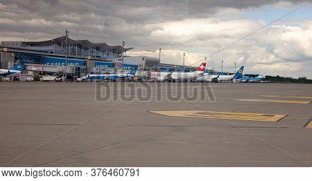 Ukraine, Kyiv - July 8, 2020: Passenger Aircraft. Boryspil International Airport. Many Different Pla