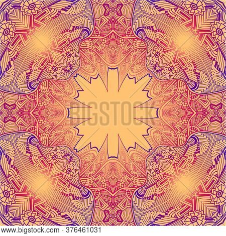 Template Abstract Background With Lace In Zen Tangle Zen Doodle Indian Arabic Eastern  Style Colorfu